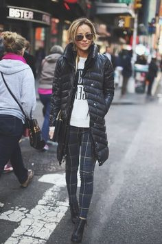 Winter style. Down coat and Plaid Pants.