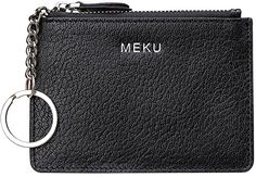 MEKU RFID Blocking Slim Leather Credit Card Wallet with Key Ring and ID Window Black ** You can get additional details at