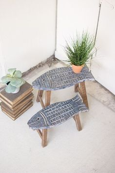 Set of 2 carved wooden fish stools – # carved # fish # set # stool # wood new apartment # woodworking – wood working projects tools Woodworking Projects Diy, Wood Projects, Woodworking Tools, Woodworking Furniture, Woodworking Magazine, Garden Projects, Woodworking Articles, Woodworking Apron, Woodworking Machinery