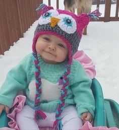 Crochet Viking Hat, Crochet Owl Hat, Knitted Owl, Newborn Crochet, Cute Crochet, Knitted Hats, Girl Beanie, Girl With Hat, Crochet Blanket Patterns