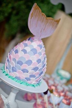 Mermaid tail cake at a mermaid birthday party! See more party planning ideas at CatchMyParty.com!