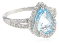 Sterling Silver Teardrop Blue Topaz Diamond Ring (1/4cttw, I-J Color, I2-I3 Clarity), Size 7