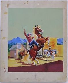 Original cover art from GENE AUTRY, a Little Golden Book published by Simon and Schuster in 1955.  The artist is Mel Crawford. This is a fine example of one of his Little Golden Book covers.  Piece measures 14 X 16.5 inches.  Art measures 11 X 13 inches. VERY GOOD condition.  Wonderful colors. $1500