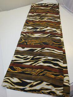 Vintage Silk Scarf Animal Print Stripe Gold Brown White Black
