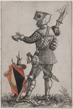 "Shield Bearer with Coat of Arms for the Fideler Family -- For the unpublished ""Das Augsburger Geschlechterbuch"" (The Augsburg Book of Nobles); later printings with inscription added were published in ""Ernewrtes Geschlechter Buch"" (Revised Book of Nobles) by Wilhelm Peter Zimmerman, 1618. -- Attributed to Hans Burgkmair the Younger (German, c. 1500-c. 1562), 1545-47"