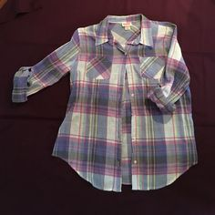 Adorable button down shirt  Checkered button down shirt from Mossimo. Worn a few times, but great condition Mossimo Supply Co Tops Button Down Shirts