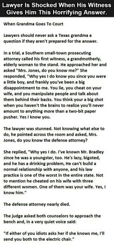 Lawyer Is Shocked When His Witness Gives Him This Horrifying Answer. – Real Time – Diet, Exercise, Fitness, Finance You for Healthy articles ideas Funny As Hell, Funny Cute, The Funny, Stupid Funny, Funny Texts, Funny Jokes, Hilarious, Funny Pins, Funny Stuff