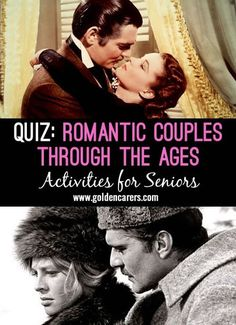 # Valentine's Day - February 14 # Make copies of this quiz and hand out to participants. Give each a pencil and ask them to join the sweet-hearts with a line. A fun nostalgia and reminiscing quiz for seniors.