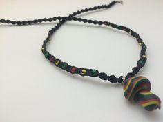 Rasta Striped Clay Mushroom Macrame Hemp Necklace (0010) by HemptressDesigns on Etsy