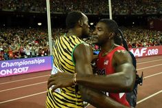 August 23, 2015 | Bolt and Gatlin share congratulatory hug after Bolt comes out victorious in the 100m Finals.