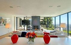 I love modern spaces (my taste far exceeds what I can afford); this is from Jennifer Aniston's house in Bel Air.