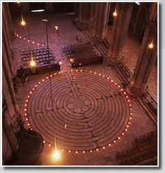 The Labyrinth of the Cathedral of Chartres. Legend says the Cathedral was built over the remains of the Great Grove of the Carnutes, the central place of Celtic pagan worship in Gaul.