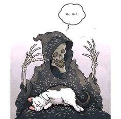 Tagged with cat, aww, caturday; Cat dump from stolen memes on Caturday Arte Obscura, Skeleton Art, Grim Reaper, Skull Art, Crazy Cats, Dark Art, Cute Art, Art Inspo, Creepy