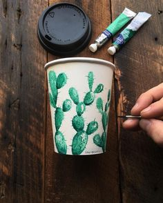 Cactus by by cactusmagazine Coffee Cup Art, Cactus Art, Art Hoe, Copics, Diy Art, Art Crafts, Art Forms, Art Inspo, Painting & Drawing