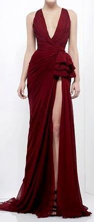 Zuhair Murad | red | low V-neck slit dress | high fashion