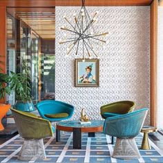"Jonathan Adler and Simon Doonan collaborated with New Haven, Connecticut, firm Gray Organschi on their midcentury-inspired New York vacation home. ""There's no right answer except to play and experiment,"" Adler says about furnishing the interior. Decor, Modern Interior, House Design, Decor Interior Design, Interior Design, House Interior, Interior Architecture, Home Deco, Retro Home Decor"