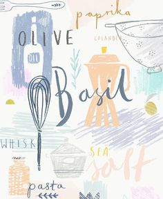 Gemma Luxton, design, lettering, colour, type, texture, illustration, food, recipe, cooking, typography, drawing