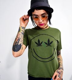 Marijuana Leaf Camo Green Grunge Vintage T Shirt Women's Small on Etsy, $29.00