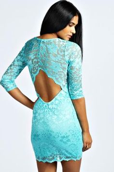 boohoo Nina Scallop Detail Open Back Lace Bodycon Dress - mint, mint £22.00 by boohoo.com