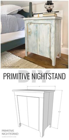 A DIY tutorial to build a primitive style nightstand. Make this nightstand with a door and plenty of enclosed storage using my plans here. #freeplans #diynightstand
