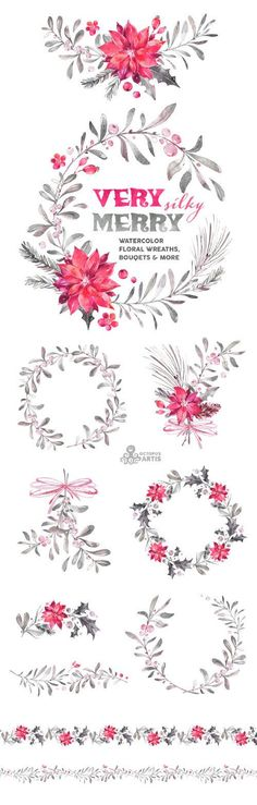 Very Merry Silky. Watercolor Wreaths Bouquets by OctopusArtis