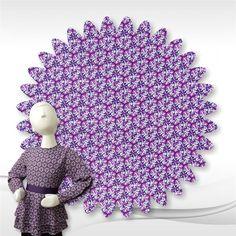 Purple Geometric Print Rayon Challis Fabric 56-in Wide by the yard