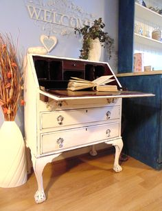 Beautiful French Writing Bureau with Cabriole Legs & Dark Wood Interior. Painted in Annie Sloan Old White. Gorgeous Shabby Chic!
