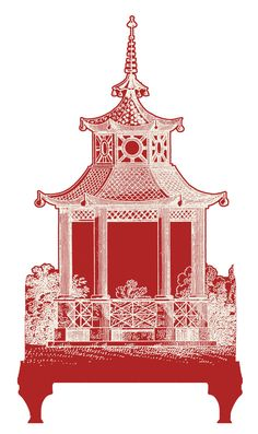 Pagoda - Red with Beige - Wall Decal - Wall Decor Art Chinoiserie Room Decor…