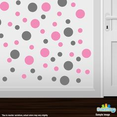 Grey / Pink Polka Dot Circles Wall Decals #decals #decalvenue #stickers