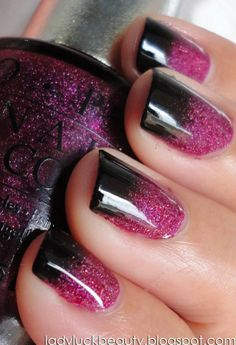 Purple glitter and black nails.