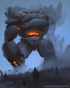 Rock Golem Sketch by AlexKonstad on deviantART