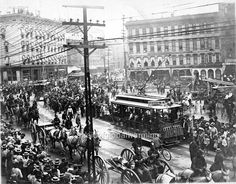 Celebration parade in Campau Square - 1890s