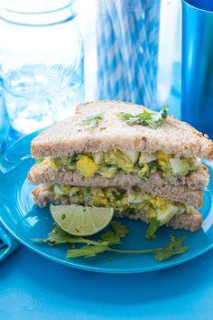 Avocado Egg Salad Sandwich - use one whole egg and two egg whites and eat on one slice of Ezekiel bread