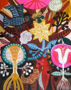 Tree of Life 2 by Mercedes Lagunas #mexican #folk #flowers #huichol art