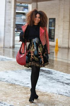 ELLE CANADA *** The Global Girl: Ndoema featured in Elle Canada arriving at the Son Jung Wan Fall 2013 show during fashion week. Ndoema wears Donald J Pliner Jacket and bag, a #vintage handpainted mexican skirt and Dolce Vita suede pumps.