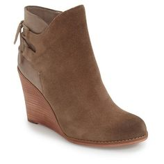 Women's Hinge 'Tracer' Wedge Bootie ($110) ❤ liked on Polyvore featuring shoes, boots, ankle booties, taupe suede, leather lace up booties, lace up wedge booties, lace up booties, leather ankle boots and taupe wedge booties