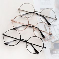 8f817c2cd3 Women Men Large Metal Frame Clear Lens Round Circle Eye Glasses Nerd Vintage
