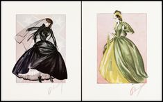 """photos of costumes for """"gone with the wind"""" movie   GONE WITH THE WIND"""" COSTUME DESIGN LITHOS HAND SIGNED BY WALTER ..."""