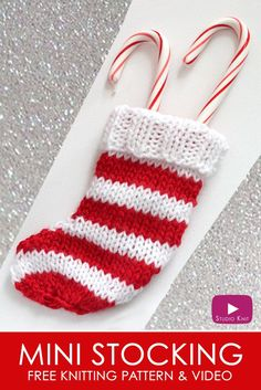 Learn how to Knit a Mini STOCKING: Quick Knit for the Christmas Holidays with Studio Knit. Free Knitting Pattern + Video Tutorial via @StudioKnit