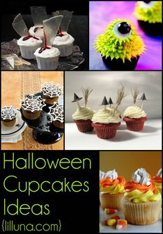 Halloween Cupcakes (Part 2) - TONS of cupcake ideas for Halloween, spooky ones and ADORABLE ones!! { lilluna.com }