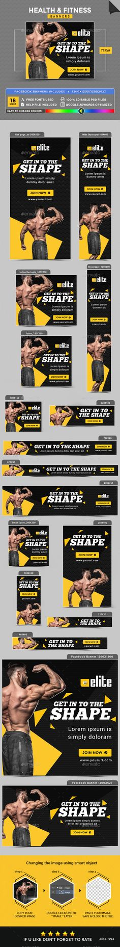 Health & Fitness Banners Design Template - Banners & Ads Web Element Template PSD. Download here: https://graphicriver.net/item/health-fitness-banners/17741050?s_rank=11&ref=yinkira