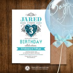 Printable Boy Birthday Invitations - Blue Teal & Glitter Heart - Baby Boys Invite DIY - INSTANT DOWNLOAD Editable Template for self printing