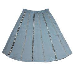 Krasimira Stoyneva - Beaded Silk Skirt ($885) ❤ liked on Polyvore featuring skirts, summer skirts, patterned skirts, print skirt, knee length summer skirts and blue skirt