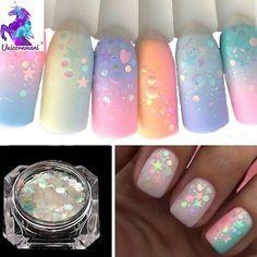 Glittery Nails, Sparkle Nails, Glitter Nail Art, Unicorn Nails Designs, Unicorn Nail Art, Little Girl Nails, Periwinkle Nails, Punk Nails, August Nails