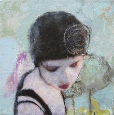 Veronique Paquereau, La Vie en Rose 3, Gemengde techniek op doek, 20x20
