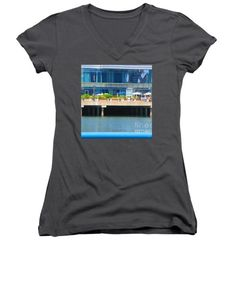 All Junior Vneck Tshirts - Boston WOW that perfect picture of diners on the patio NavinJoshi FineArtAmerica Pixels Juniors V-Neck by Navin Joshi