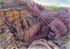 Crater Hoyo Negro Cumbre Vieja on the island of La Palma, watercolor and pastel by Jana Haasová