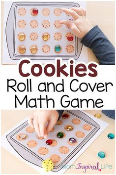 Math Game: A Roll and Cover Activity A fun cookie theme math game for preschool, kindergarten and first grade! A fun way to learn numbers!A fun cookie theme math game for preschool, kindergarten and first grade! A fun way to learn numbers! Educational Activities For Kids, Printable Activities For Kids, Preschool Printables, Preschool Lessons, Kindergarten Activities, Fun Learning, Preschool Activities, Number Activities, Preschool Learning