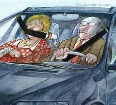 Funny cartoon picture of a seating belt used to shut up a wife in the car. Funny cartoon of talkative wife New Funny Jokes, Funny Cartoons, You Funny, Funny Cute, Funny Memes, Hilarious, Cartoon Humor, Funny Stuff, Funny Shit
