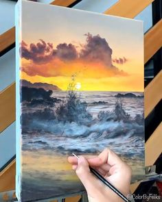 Canvas Painting Tutorials, Diy Canvas Art, Acrylic Painting Canvas, Painting Videos, Acrylic Landscape Painting, Easy Acrylic Paintings, Acrylic Painting Inspiration, Acrylic Painting Flowers, Acrylic Painting Lessons